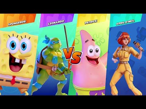 Nickelodeon All-Star Brawl :  Gameplay - SpongeBob vs. Leonardo vs. Patrick vs. April O'Neil