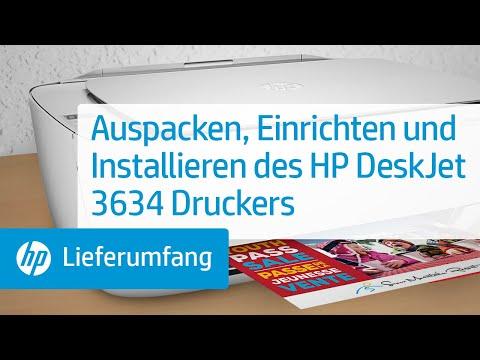 Auspacken, Einrichten und Installieren des HP DeskJet 3634 Druckers