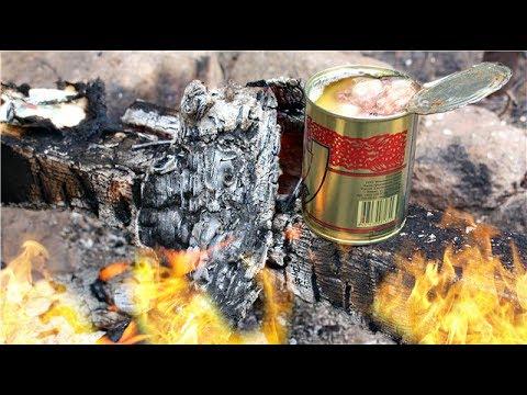 Как вытащить горячую банку из костра