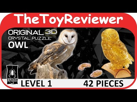 Original 3D Crystal Owl Puzzle (42 Pieces) BePuzzled Level 1 Unboxing Toy Review by TheToyReviewer