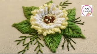 61-Hand Embroidery | Brazilian Embroidery| 3d Flower Embroidery