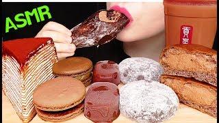 ASMR CHOCOLATE ICE CREAM TIRAMISU CREPE CAKE CREAM BUN 초콜릿 아이스크림 크레이프 케이크 크림빵 먹방 EATING SOUNDS
