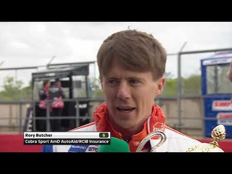 Rory Butcher gets his Brands Hatch winners' trophy | BTCC 2019