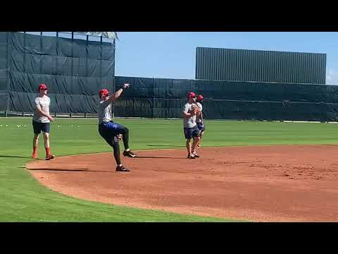 Michael Chavis, Boston Red Sox top prospect, takes ground balls at spring training 2019