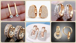 Outstanding Luxury 14k Round Hoop Gold And Diamond Earrings For Women