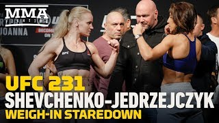 UFC 231: Valentina Shevchenko vs. Joanna Jedrzejczyk Weigh-In Staredown - MMA Fighting
