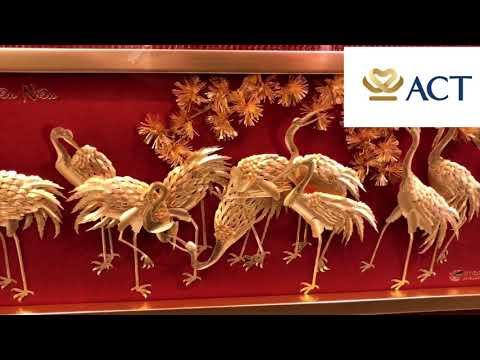 Tranh tùng hạc diên niên dát vàng (60x126cm) – ACT GOLD