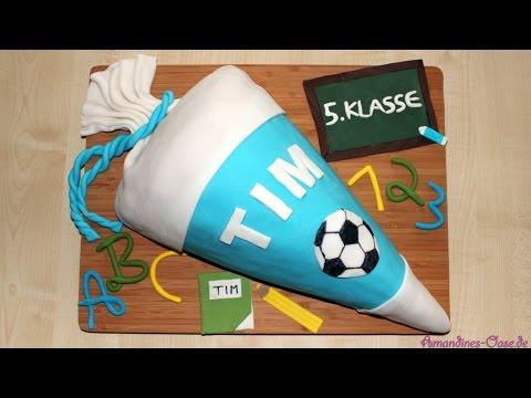 Einschulungstorte   Schultüte mit Süßigkeitenfach   Kinderschoki-Ganache   Piñata-Torte