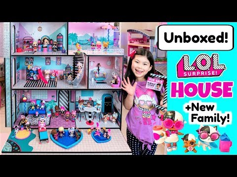 NEW LOL SURPRISE DOLL HOUSE! FULL UNBOXING HOUSE TOUR + NEW FAMILY +LOL UNDER WRAPS SERIES 4 EYE SPY