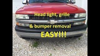 HOW TO REMOVE 99-06 SIlverado Tahoe Suburban HEAD LIGHT GRILLE & FRONT BUMPER