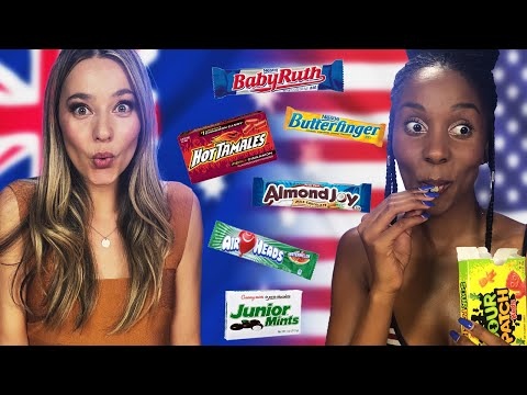 Australian Tries American Candy for the First Time! (Cheat Day)