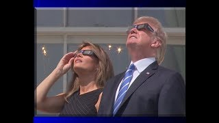 President Donald Trump & The First Lady Melania Trump View the Solar Eclipse from the Truman Balcony