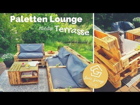 Paletten Lounge geflammt + angeschrägter Rückenlehne  -  Palettenmöbel Anleitung DIY - Selber bauen