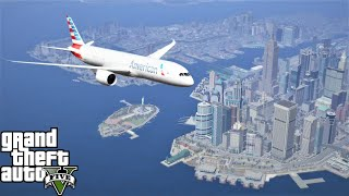 GTA 5 Real Life Mod #246 Boeing 787-9 Dreamliner Flying To Liberty City From Los Santos