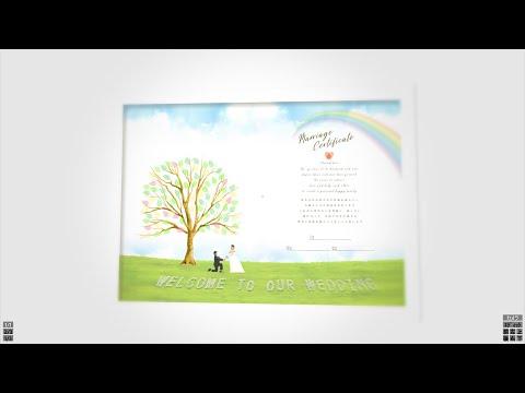 オリジナルのウェディングツリー結婚証明書 作ります 写真を使って新郎新婦をデザインに取り込んだウエディングツリー イメージ1
