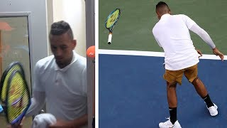 video: Nick Kyrgios melts down again as he unleashes tirade at umpire and smashes rackets during Cincinnati loss