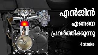 Engine Working Explained in Malayalam | 4 Stroke