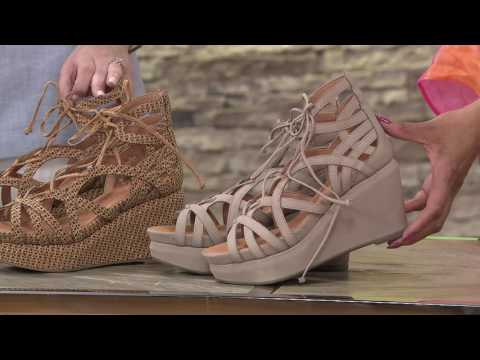 Gentle Souls Leather Lace-up Wedge Sandals – Joy on QVC