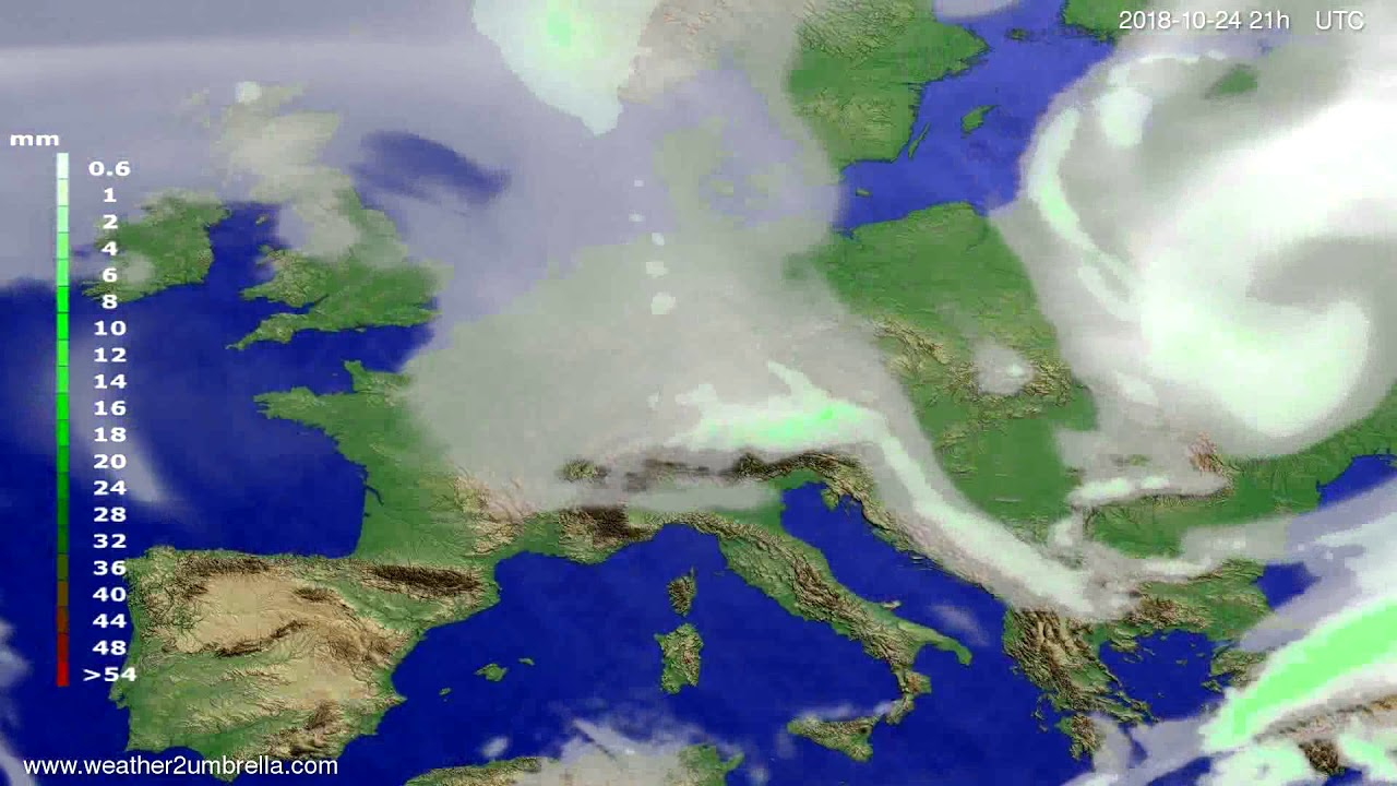 Precipitation forecast Europe 2018-10-21