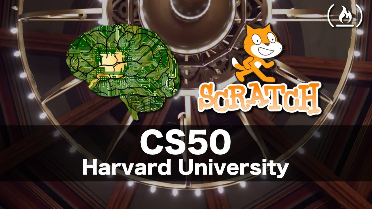 The thumbnail from the course's first video showing the Scratch logo