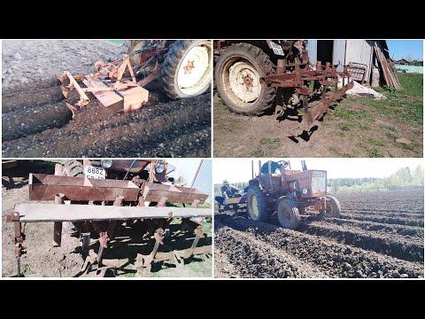 Самодельный окучник-сажалка, фрезерование и посадка картофеля  на тракторе Т-25