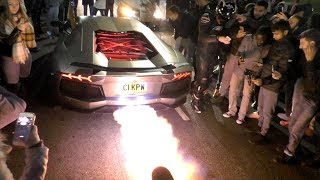 This Lamborghini Aventador is literally ON FIRE, HUGE FLAMES!