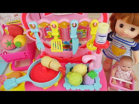 Kitchen and food cooking toys and baby doll play