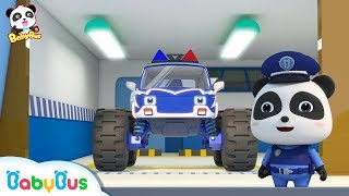 Bad Monster Car Grabs Candies from Baby Panda | Super Train, Fire Truck, Earthquake Escape | BabyBus