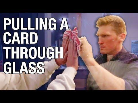 Pulling A Card Through Glass Magic Trick