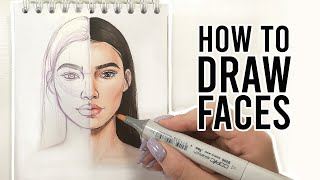 HOW TO DRAW FACES | Sketching & Coloring Tutorial