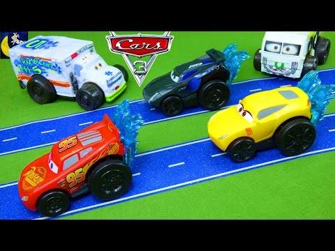 Splash Racers Disney Cars 3 Toys Jackson Storm Lightning McQueen Cruz Ramirez Pool Water Toys Video!