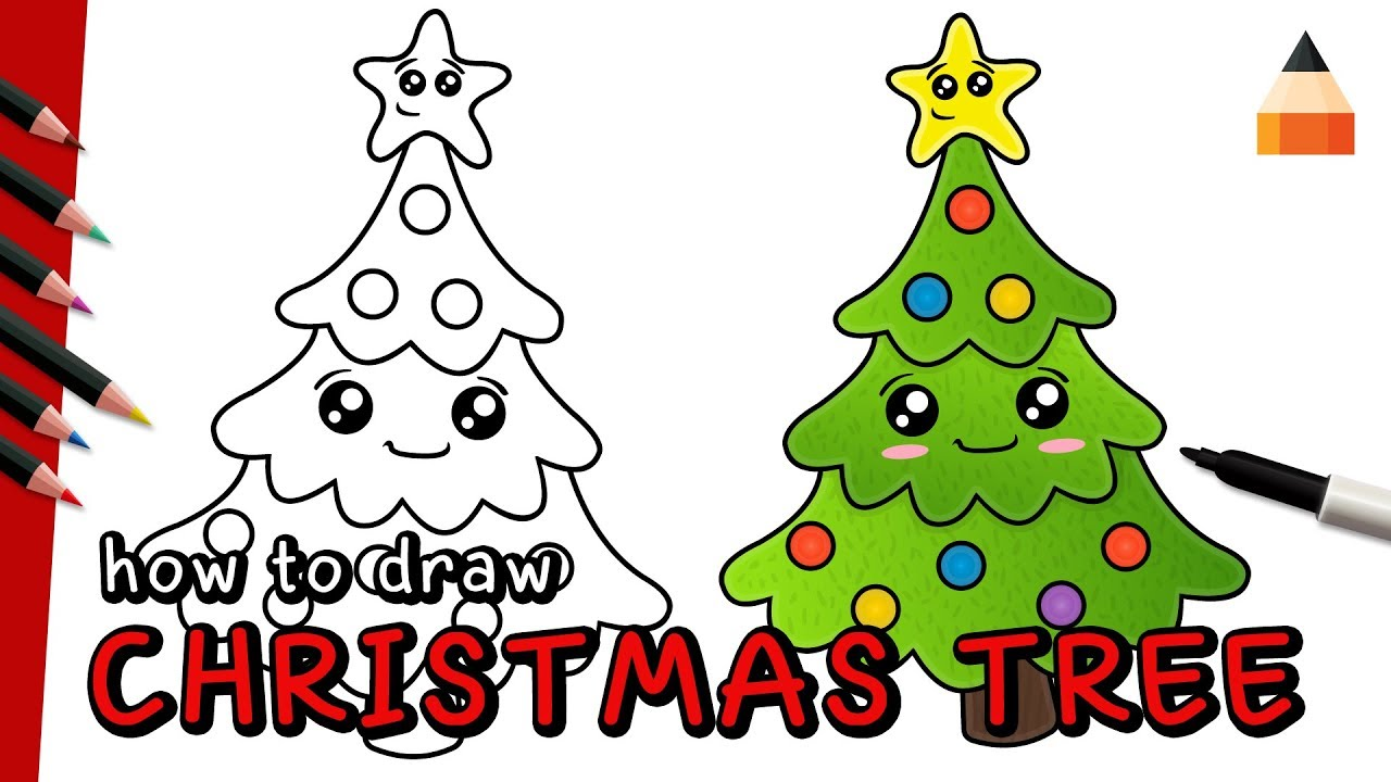 Christmas Pictures To Draw.How To Draw Christmas Tree