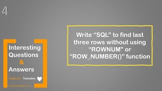 Oracle interesting questions | SQL to find the last three rows without using rownum and row_number