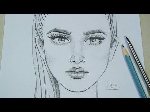 تعلم رسم وجه من الامام خطوة بخطوة تعليم كيفية الرسم بقلم