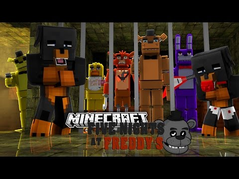 Minecraft FIVE NIGHTS AT FREDDY'S - NIGHT 5 w/FREDDY,FOXY,BONNIE & CHICA - donut the dog minecraft