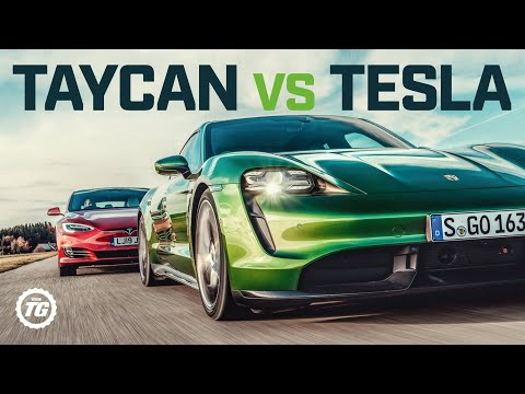 Porsche Taycan Turbo S vs Tesla Model S: DRAG RACE FULL REVIEW AND VMAX | Top Gear