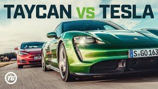 Porsche Taycan Turbo S vs Tesla Model S: DRAG RACE, FULL REVIEW AND VMAX | Top Gear