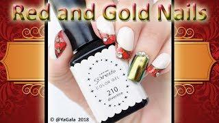 Red And Gold Nails / Дизайн ногтей с втиркой