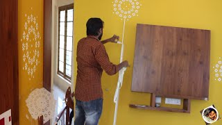 Asian Paints Wall Stencil Design On Interior Living Wall
