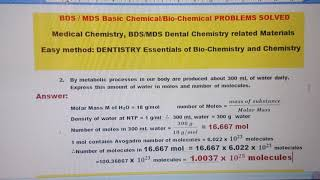 Q2, BDS / MDS Basic Chemical/Bio-Chemical PROBLEMS SOLVED Medical Chemistry, Dental Chemistry