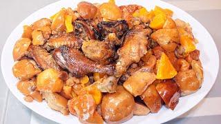 Утка с яблоками, тыквой и сухофруктами, запеченная в духовке (рецепт)