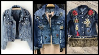Latest New And Stylish Denim Jackets Ideas For Winter Season - Flowers Decorated Jacket Designs