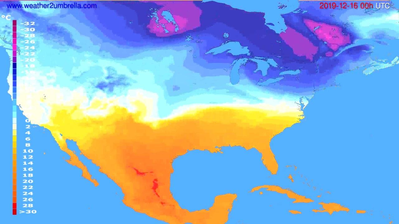 Temperature forecast USA & Canada // modelrun: 00h UTC 2019-12-15