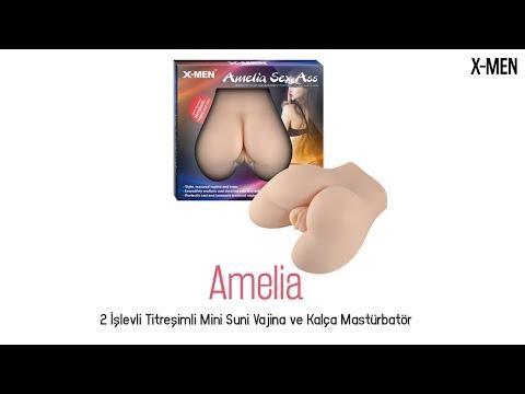 Amelia 2 İşlevli Titreşimli Mini Vajina ve Kalça Mastürbatör