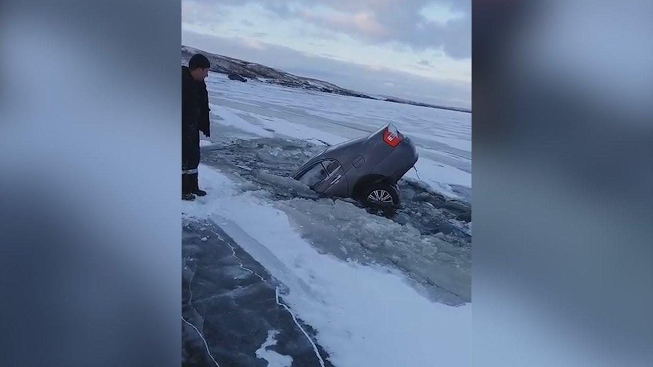 Лед треснул и машина ушла на дно водохранилища