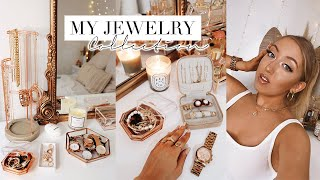 MY JEWELRY COLLECTION & ORGANIZATION *try On* ✨ Rose Gold Earrings, Necklaces, Rings & Watches