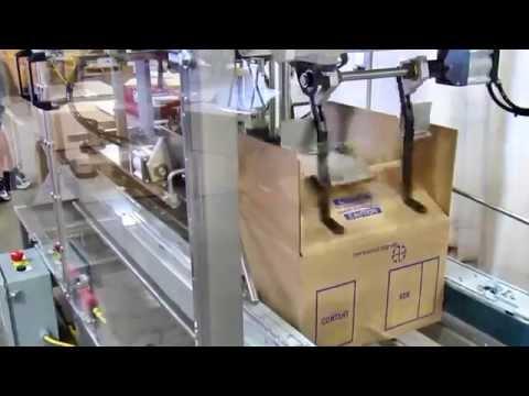 Selladora de cajas TBS-100FC con plato de compresión para cerrar cajas con almohadas