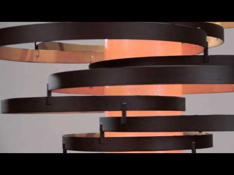 Video for Vertigo Bronze with Gold Leaf Two-Light Fluorescent Pendant