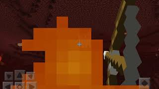 """Minecraft with """"Nether Reaches"""" in the background"""