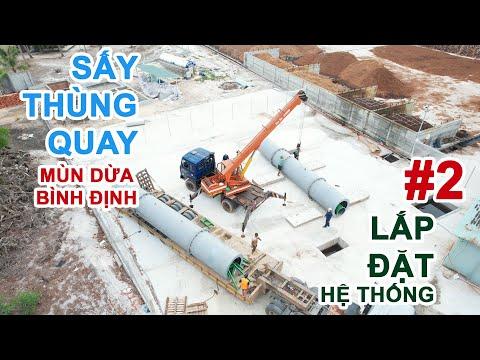 Lắp đặt ống thùng quay cho hệ thống sấy thùng quay sấy mùn dừa Bình Định